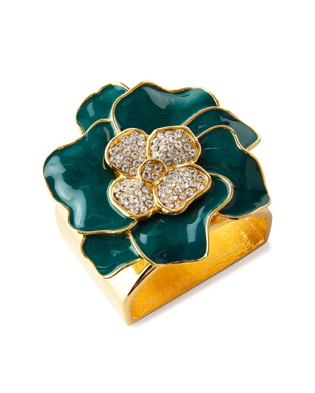 Nomi K FOREST GREEN 24K GOLD FLOWER NAPKIN RING, SET OF 4