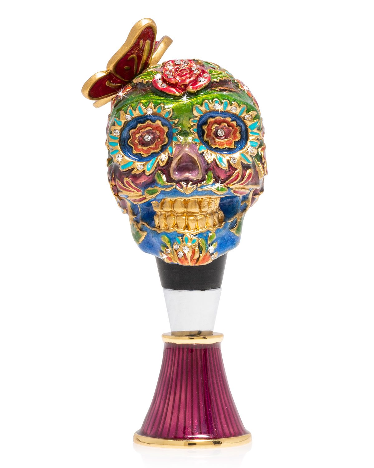 Jay Strongwater SKULL WINE STOPPED AND STAND