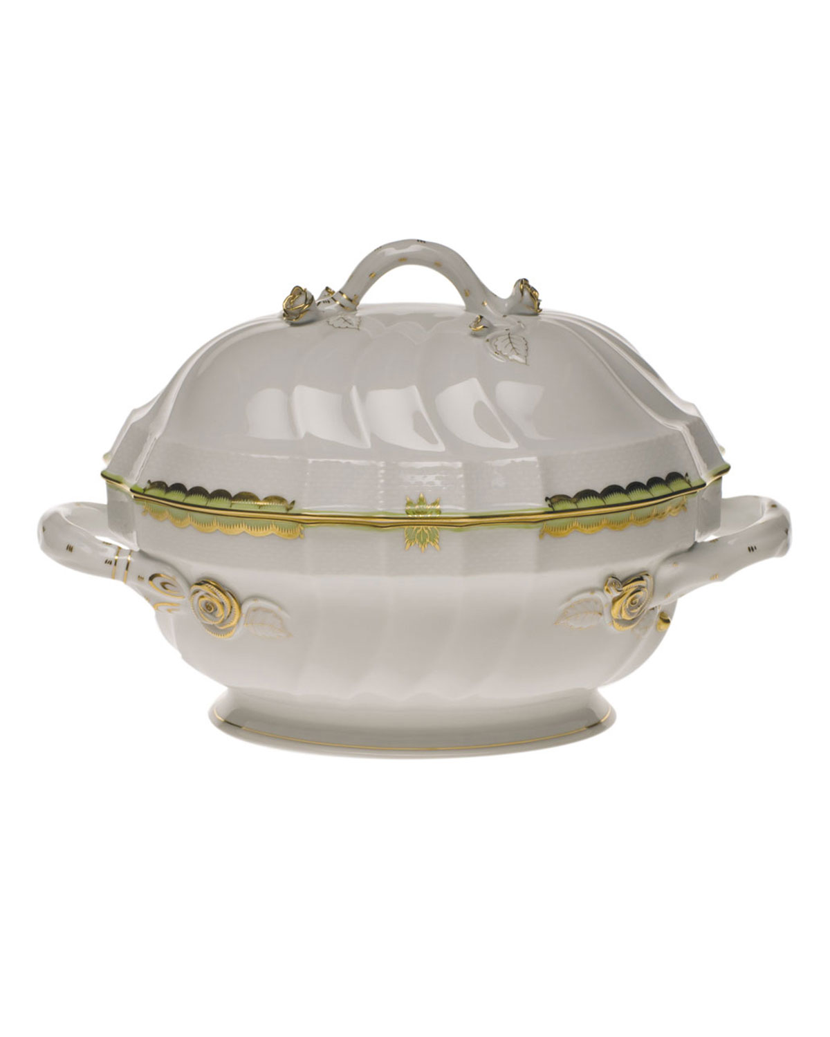 Herend PRINCESS VICTORIA GREEN TUREEN WITH BRANCH HANDLE