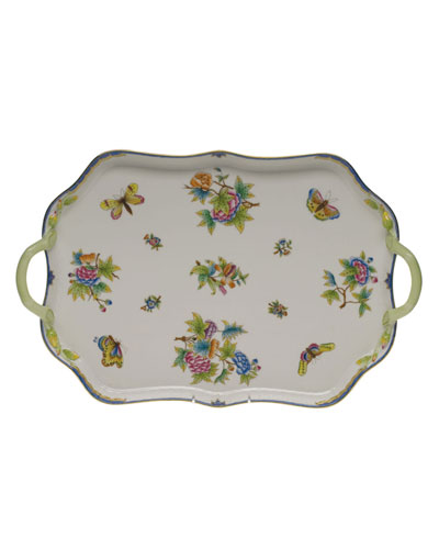 Queen Victoria Blue Rectangular Tray with Branch Handles