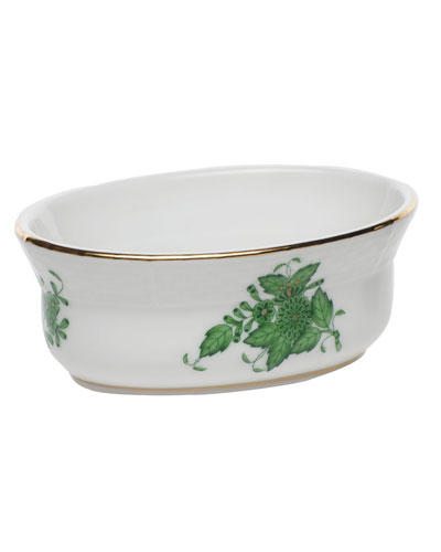 Chinese Bouquet Green Mini Oval Bowl