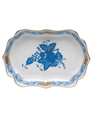 Chinese Bouquet Mini Scalloped Tray - Blue