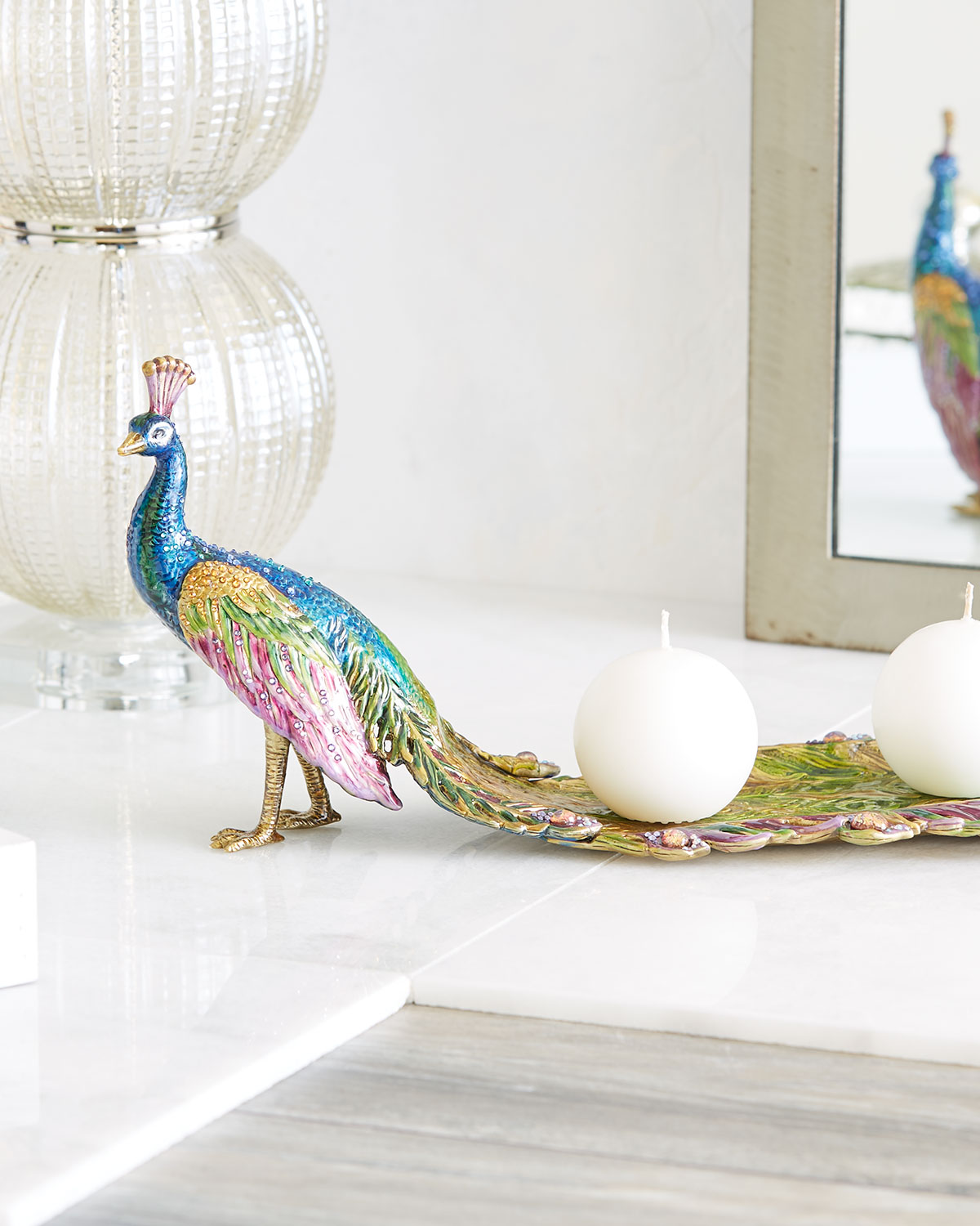 Jay Strongwater PEACOCK TRAY