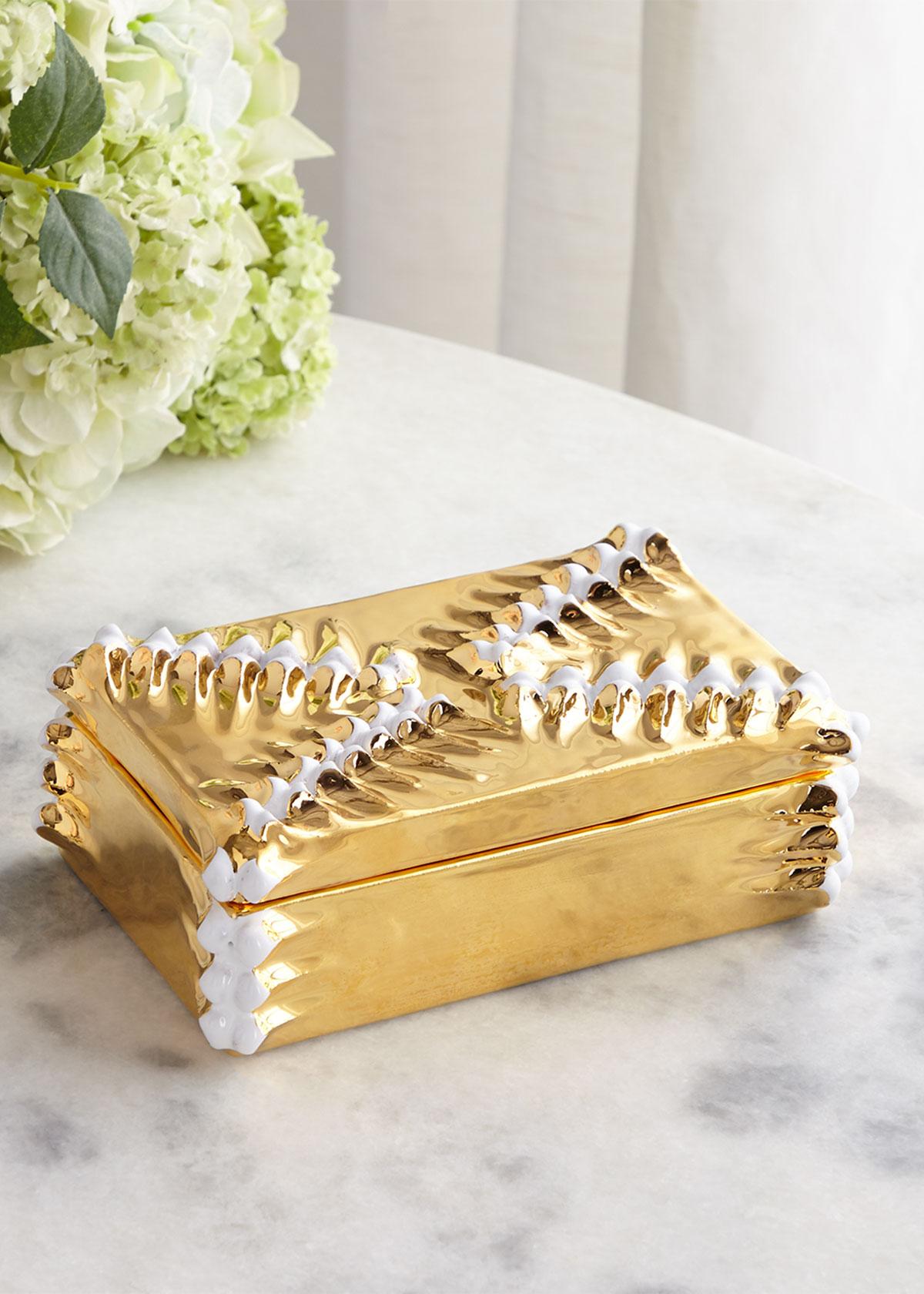 Dolfi GOLDEN BOX WITH WHITE PINE CONE STRIPS