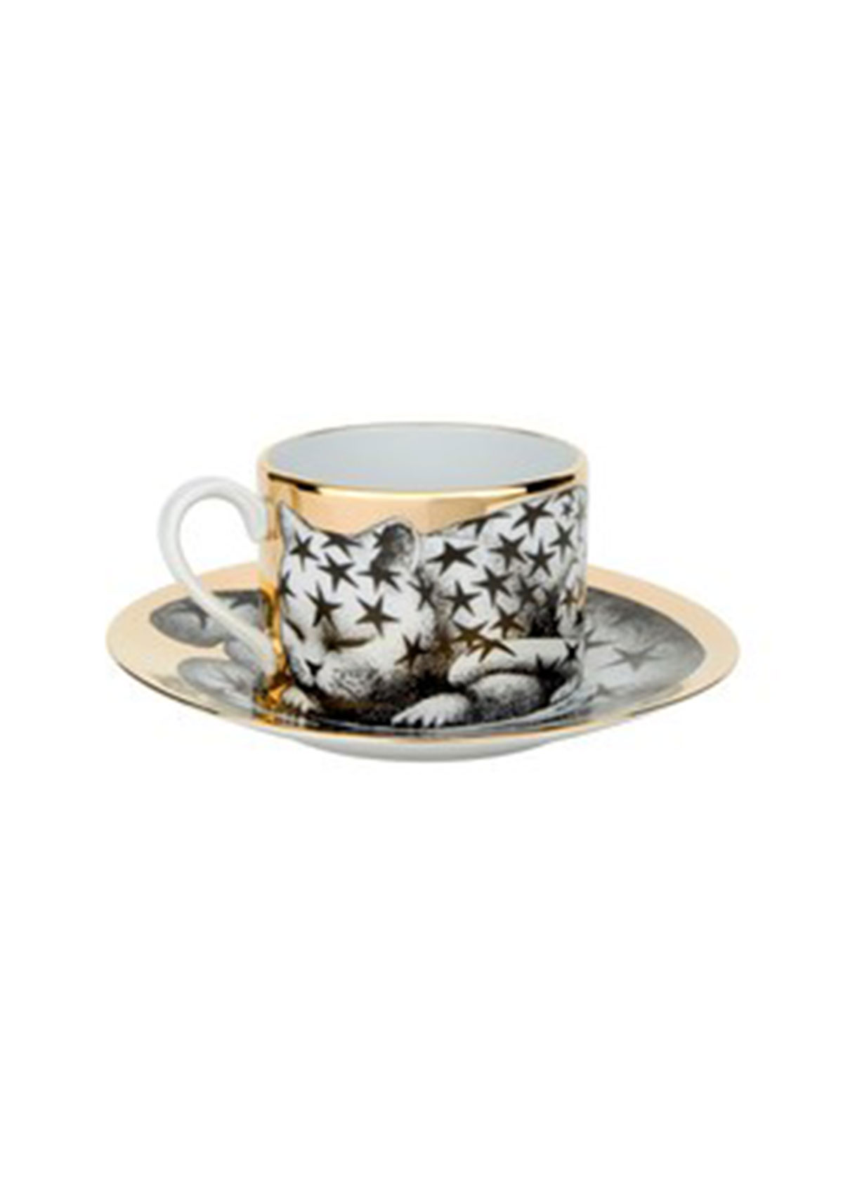 Fornasetti TEA CUP HIGH FIDELITY STELLATO STARRY CAT