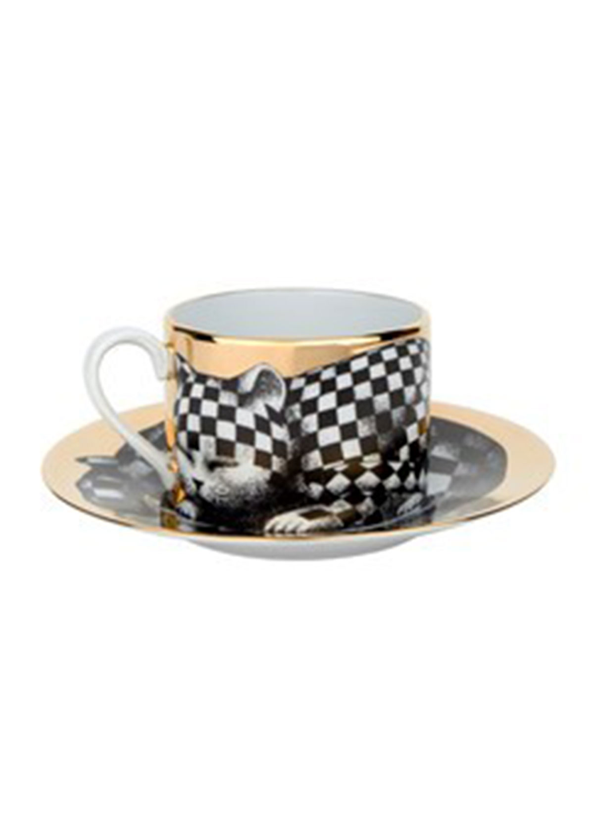 Fornasetti TEA CUP HIGH FIDELITY QUADRETTATO CHECKERED CAT