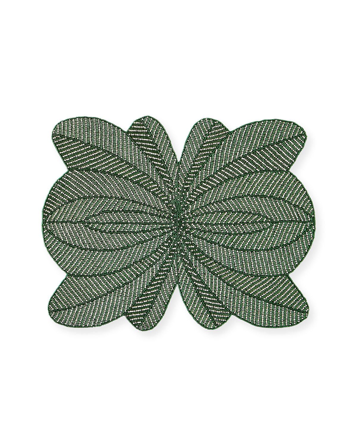 Nomi K GREEN PEACOCK HAND-BEADED PLACEMAT