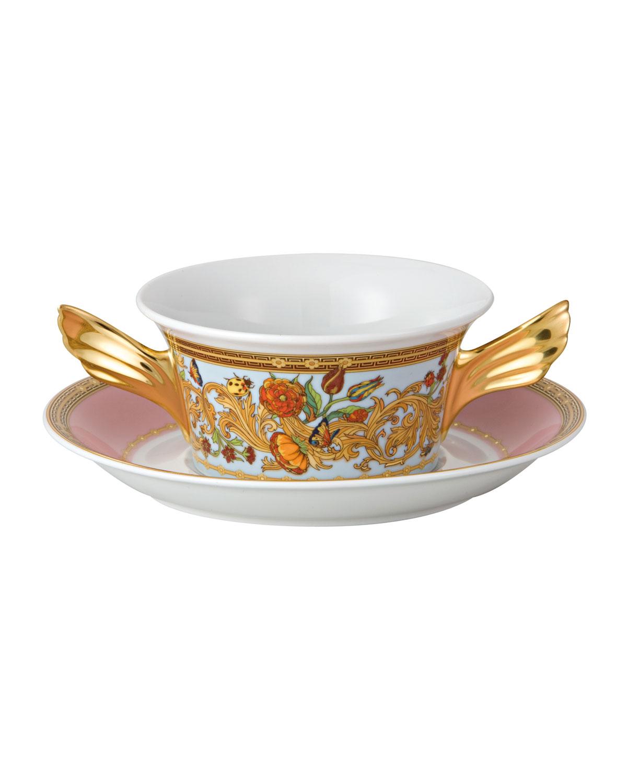 Versace BUTTERFLY GARDEN CREAM SOUP CUP & SAUCER