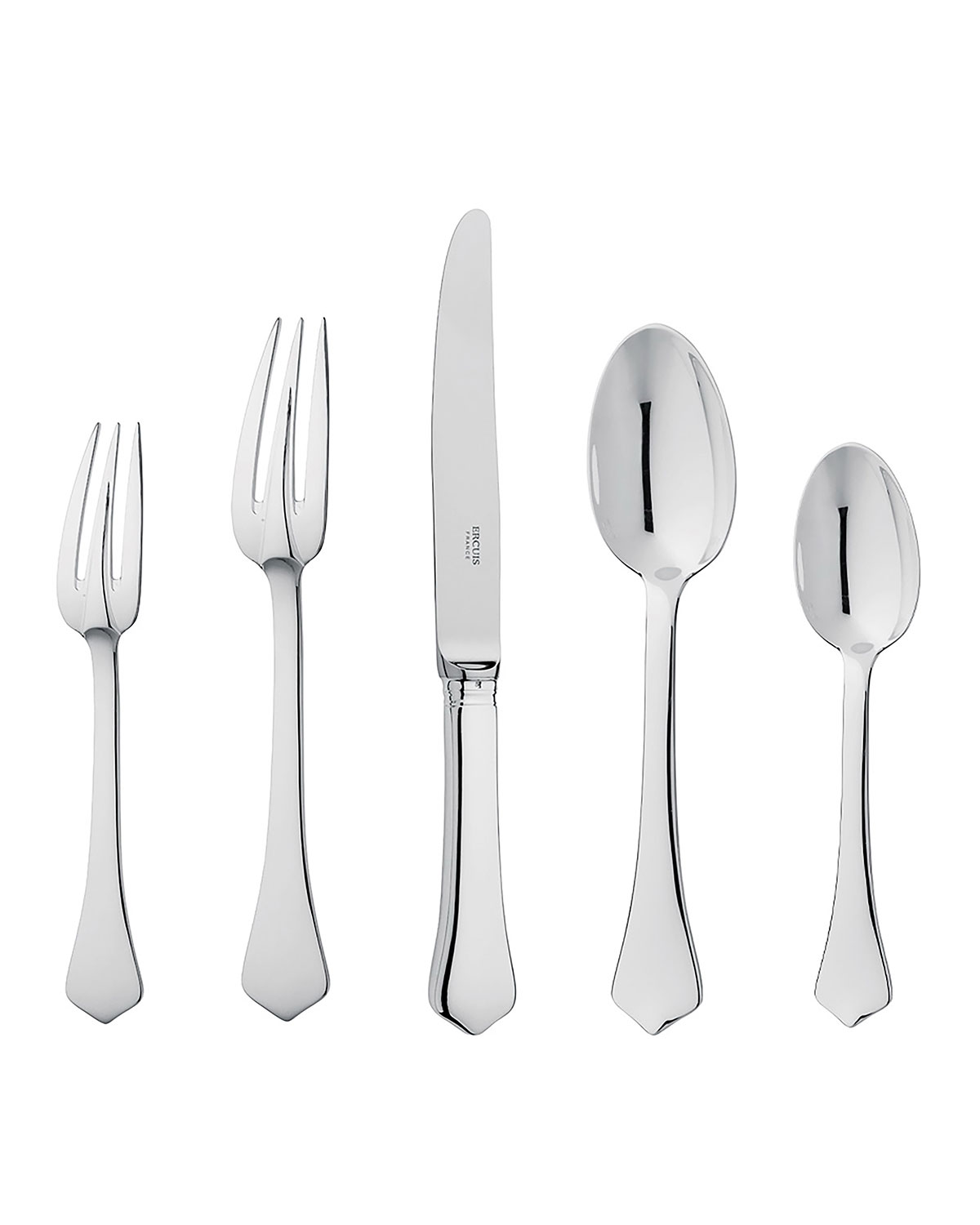 Ercuis BRANTOME SILVER PLATED 5-PIECE FLATWARE PLACE SETTING