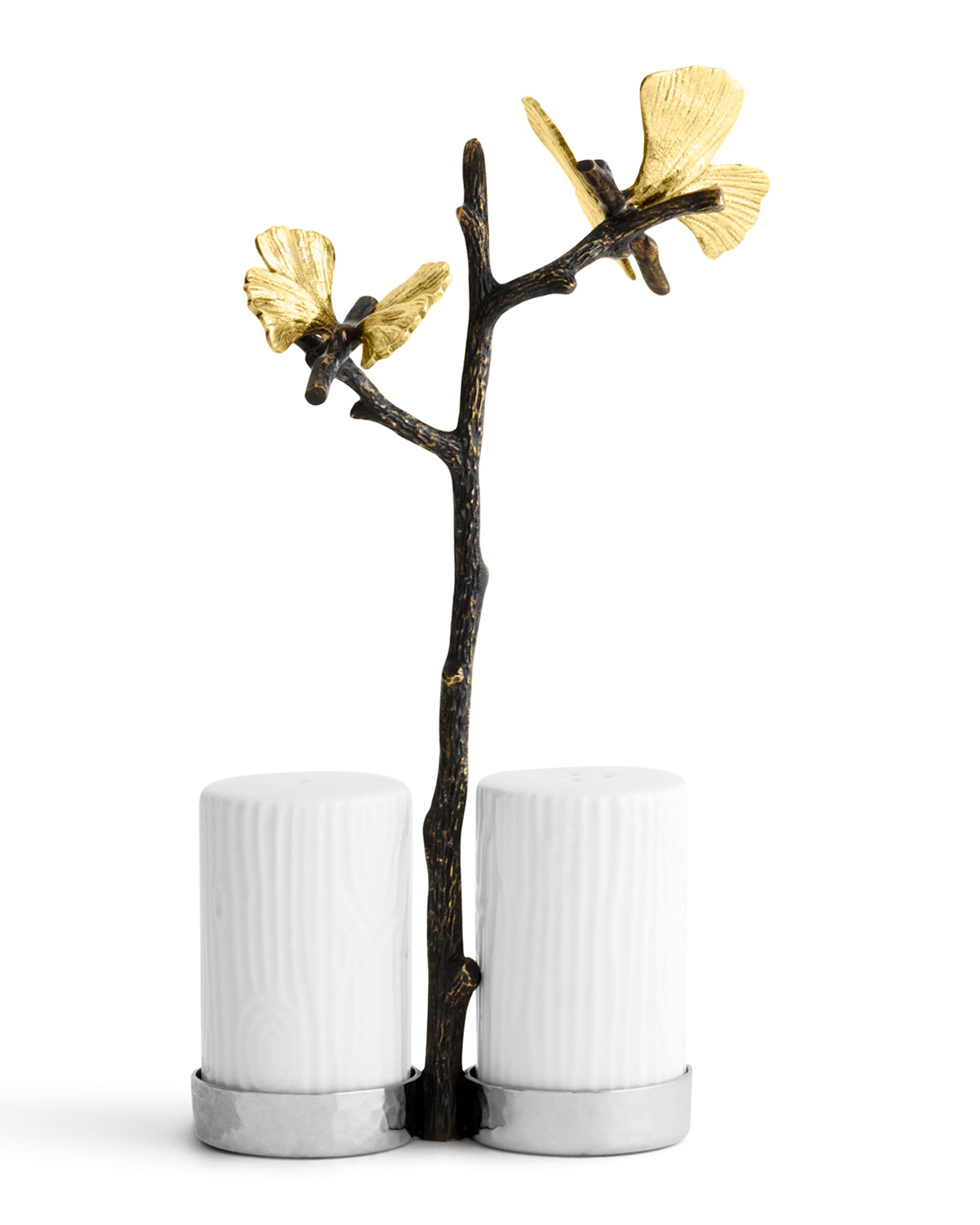 Michael Aram BUTTERFLY GINKGO SALT AND PEPPER SHAKERS WITH CADDY