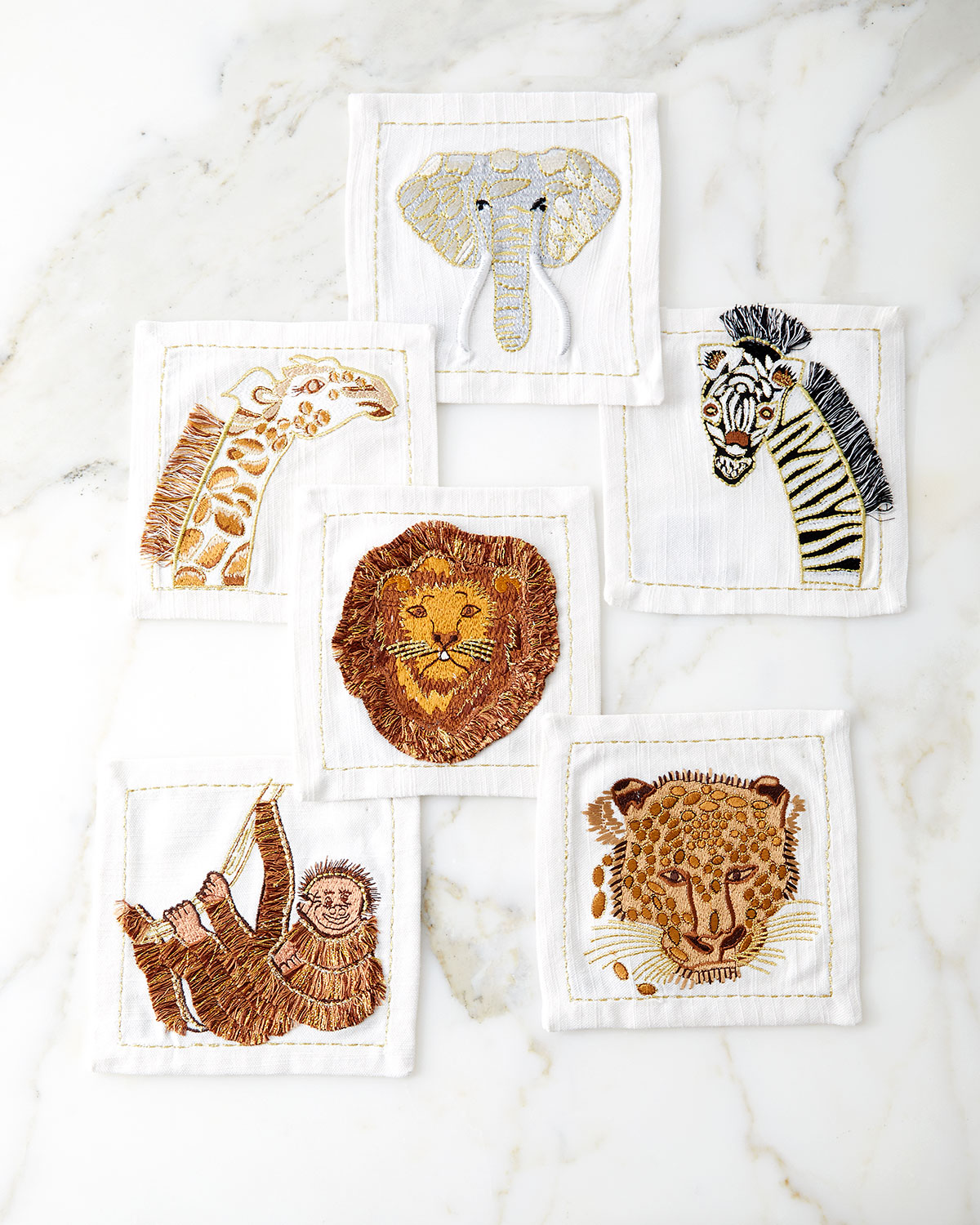 Kim Seybert OUT OF AFRICA COCKTAIL NAPKINS, SET OF 6