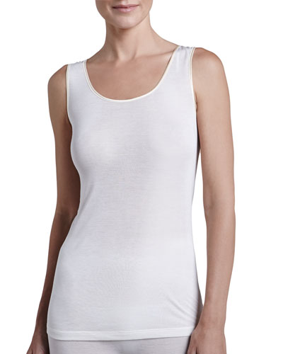 Silk Tank, Pale Cream