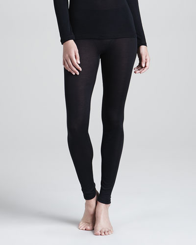 Hanro Silk Leggings, Black