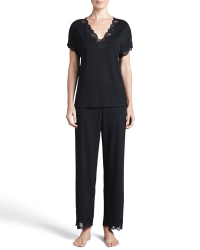 Zen Floral-Trim Pajamas, Women's, Black