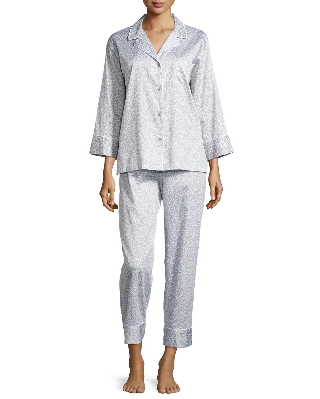 Leopard-Print Poplin Pajama Set, Gray Leopard