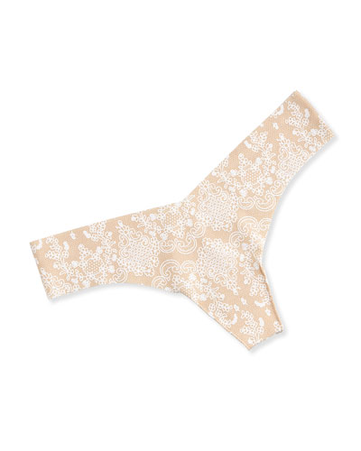 Seamless Lace-Print Thong, Nude