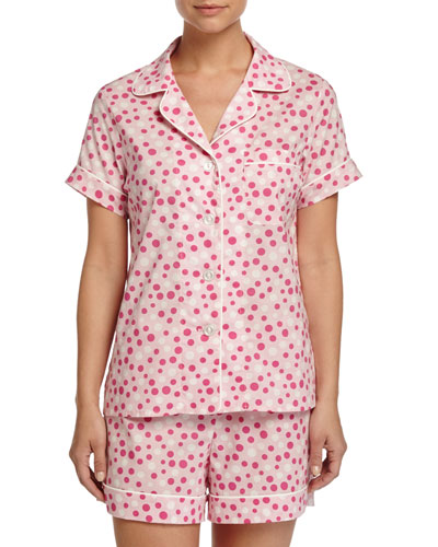 Dot-Print Shorty Pajama Set, Pink/White