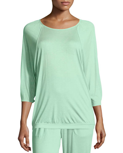 Susana 3/4-Sleeve Lounge Top, Jade