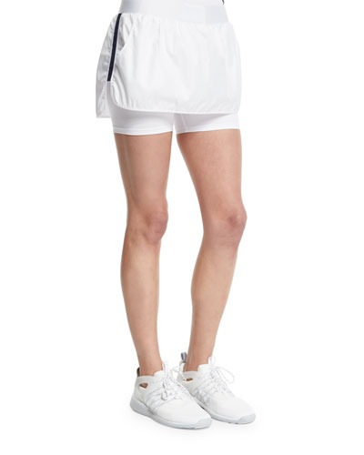 Side-Striped Training Skort, White/Navy
