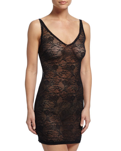 Trenta Allover Lace Slip Dress, Black