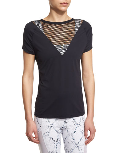 Beverley Netted-Mesh Short-Sleeve Athletic Tee, Black