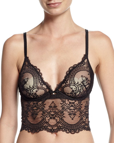 Chrystalle Lace Long-Line Bra, Black