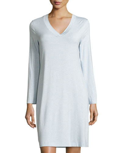 Champagne Long-Sleeve Nightgown, Ashley Blue