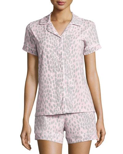 Animal-Print Short Pajama Set, Pink/Gray