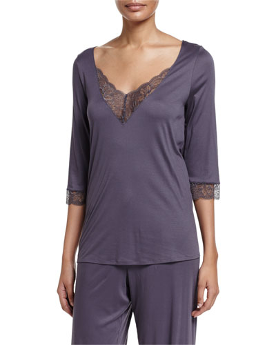 Ginevra 3/4-Sleeve Lounge Top, Basalt
