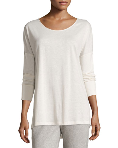Cashmere-Blend Long-Sleeve Lounge Top, Crystal Gray