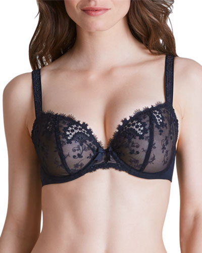 Wish Lace Demi Full-Figure Cup Bra, Black