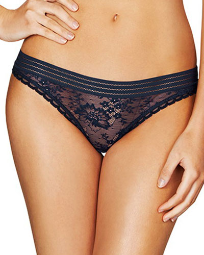 Stella Lace Thong, Dark Ink Blue
