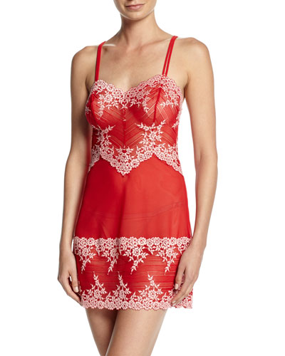 Embrace Lace Chemise, Tango Red/Coral
