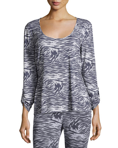 Capone Long-Sleeve Lounge Top, Dove Gray/Anthra
