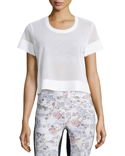 Perforated Mesh Cropped Sport Shirt, White