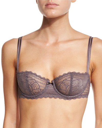 Merci Stretch-Lace Demi Bra, Taupe