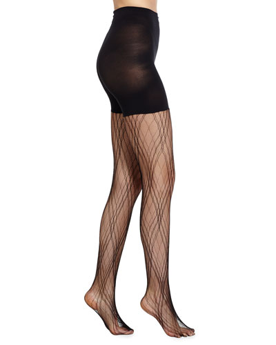 Plaid Lace Tights, Very Black