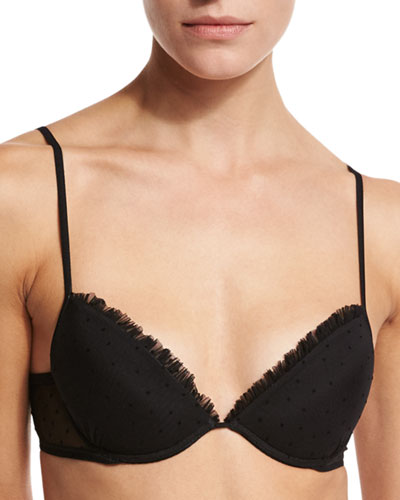 Plumetis Push-Up Bra, Black