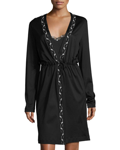 Liaison Embroidered Short Robe, Black