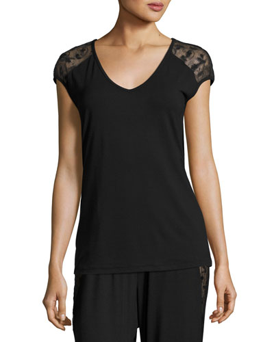 Ritz Cap-Sleeve Top, Black