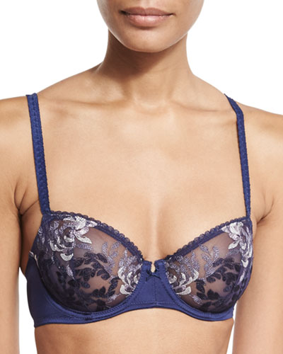 Wild Seduction Balconette Bra, Navy Multi