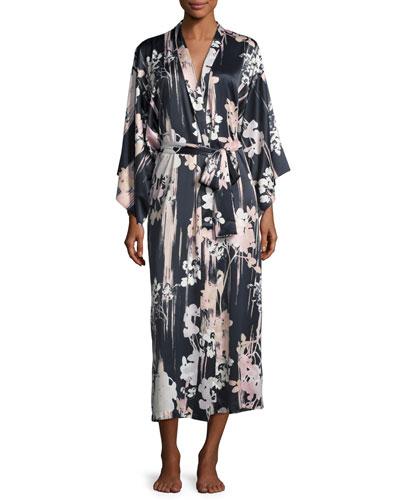 Layla Floral-Print Long Robe, Black