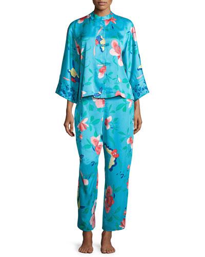 Manila Floral-Print Pajama Set, Blue