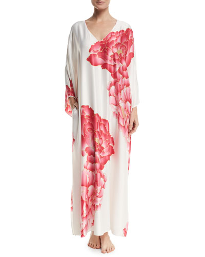Peony Drop-Sleeve Lounge Caftan, White Pattern