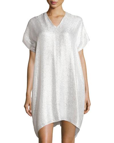 Metallic Slip Lounge Dress, White