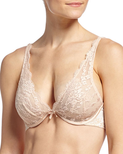 Satine V-Cut Lace Underwire Bra, Nude Blush