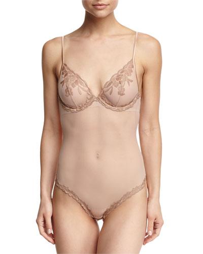 Morgane Lace-Trim Sheer Mesh Bodysuit