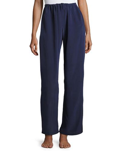 Opal Drawstring Silk Lounge Pants, Dark Blue