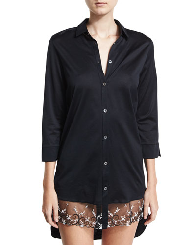 Liaisons Lace-Trim Sleepshirt, Black