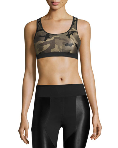 Bridge Camo-Print Sports Bra, Green/Black